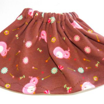 """American Girl Bitty Baby Clothes 15"""" Doll Clothes Brown Pink Cotton Knit Bird Skirt"""