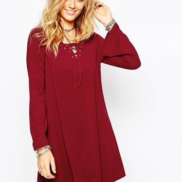 Glamorous Lace Up Swing Dress