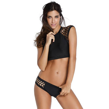 Sexy Black&White  Mesh Swimsuit Triangle High Neck Bikini Set