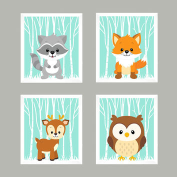Forest Animals on Mint, Woodland Animals, CUSTOMIZE COLORS, 8x10 Prints, set of 4, Nursery Decor, Animal Print, Baby Boy Girl Wall Prints