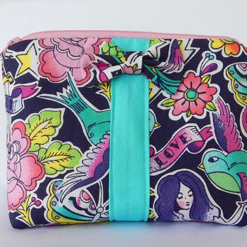 Tattoo Makeup Bag / Cosmetics Pouch / Mermaids / Makeup Clutch / Zipper Make Up Bag / Swallow Tattoo / Hearts / Classic Tattoos / Bow Clutch