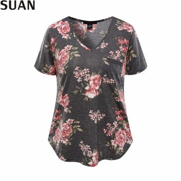 Summer Casual T-shirts Top Tees Women Tops Tumbler Floral Short Sleeve T Shirt Women V-Neck Quality