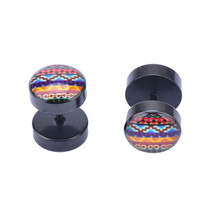 One Pair Fake Plugs With Vintage Color Stripe Logo Fake Gauge Black Acrylic 16G = 1946738052