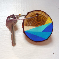 BEACHY WAVES--wooden keychain, wood keychain, keyring holder, keyring charm, keyring organizer,personalized keyring,personalised keyring