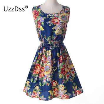 Spring Summer  European Style Fashion  Slim Mini Vest Dress with Flower Print S-XXL for Party Summer Dress