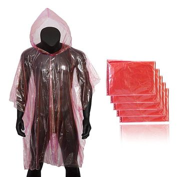5 Pack: Emergency Disposable Lightweight Rain Poncho with Hood