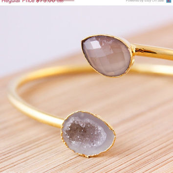 SALE Gold Grey Chalcedony and Druzy Cave Bangle - Adjustable Bangle - Sophisticated, Neutral