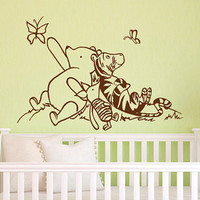 Wall Decal Winnie The Pooh Nursery Decor - Classic Winnie The Pooh, Tigger and Piglet Graphics Vinyl Wall Decal Kids Room Decor Baby Gift