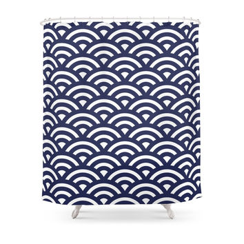 Society6 Japanese Waves Shower Curtains