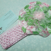 Pink Crochet headband with Pink and Green Lace flower for children, valentines, easter, baby, hair accessories by MarlenesAttic