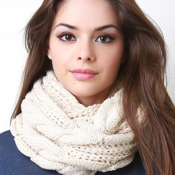 Wide Cable Knit Infinity Scarf