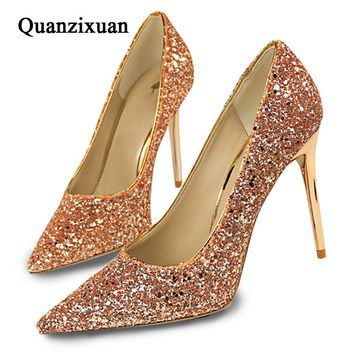 Quanzixuan Women Pumps Sexy High Heels Women Shoes Bling Fashion Casual Wedding Shoes Women Pointed Toe Gold