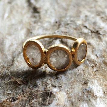 3 wishes ring -  in grey diamond slices and solid 18k gold