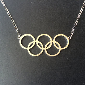 2016 Rio Olympic Games-Custom Olympic 5 Ring Necklace-Summer Olympics 5 Ring Logo-Silver Necklace-Olympic 5 Ring Pendant-Rio Jewlelry