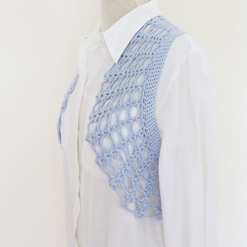 Crochet Bolero / Cotton Bolero Jacket / Crochet Lace Shrug / Crochet Jacket / Blue Cotton Lace Bolero Shrug, UK Seller
