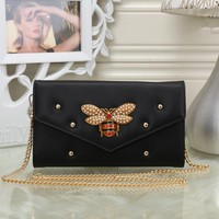 """Gucci"" Women Fashion Bee Rivet Metal Chain Single Shoulder Messenger Bag Small Square Bag"