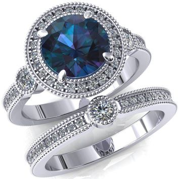 Brachium Round Alexandrite Milgrain Halo 3/4 Eternity Accent Diamond Ring