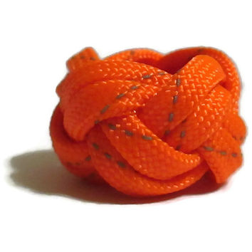 Turks Head Knot Ring Reflective Orange Military grade 550 Paracord Jewelry Statement Piece Children Boy or Girl