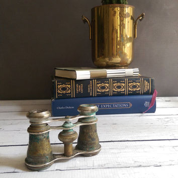 Antique Chevalier Paris Opera Glasses/ Vintage Brass Opera Glasses/ French Antique/ 1800s opera glasses/ Miniature Brass Binoculars