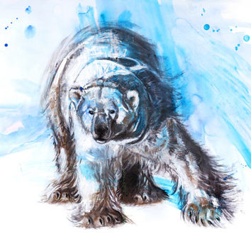 Polar Bear, 11x14, illustration print, animal painting, wall decor, art print, giclee, nature lovers gift, naturalist, bear art, arctic art