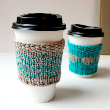 Chevron Cup Cozy / Knitted drink sleeve / Coffee Cozy / Teal Gift / Knitted drink cover