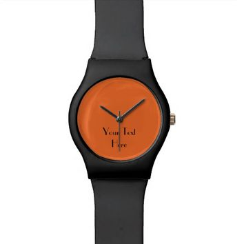Add Your Image, Your Text, Custom Watch FUN Orange