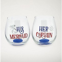 Sea Couple Stemless Wine Glass 2 Pack - 16 oz. - Spencer's