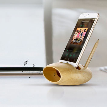 Wooden Iphone Speaker&Stand
