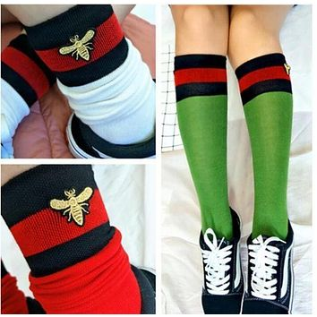 '' Gucci '' Fashion Striped Bee Embroidery Socks Stockings