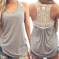 Large size t shirt women Summer Lace Vest Top comfortable female students t-shirt Blusa Female Tank Tops T-Shirt S~XXXL