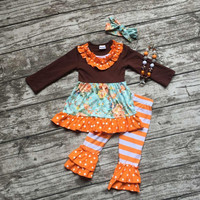 girls outfits kids Halloween orange stripes pant sets ruffle outfits floral girls Halloween party clothing with accessories