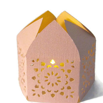 Set of 20 Light Pink Handmade Moroccan Middle Eastern Paper Wedding Lanterns with LED Battery Tea Light Candle  Event Decor - Lighting
