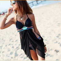 Flower Summer Long cover up Bikini  Sexy Women Swimsuit Skirt Swimwear Tankini Trikini transparent Swimsuit Push Up