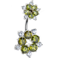 Sterling Silver 925 Green Cubic Zirconia Flower Belly Ring | Body Candy Body Jewelry