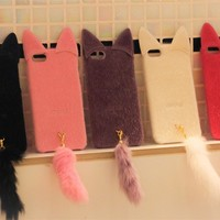 3D Cute Lovely Velvet Cat with Tail Case Cover For iPhone 4 4s Fashion girl Gift