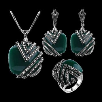 Classic Antique Style Silver Tone Vintage Jewelry Sets Green Resin Crystal Square Big Pendant Necklace Earring Ring Set