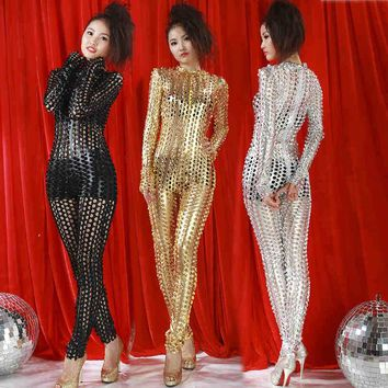 2016 Sexy pole dancing rompers bodystocking 3 colors Sexy terno corpo aberto fishnet bodysuit  night club sexy dancing jumpsuit