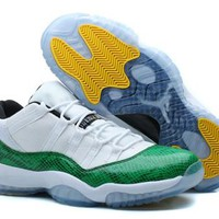 Cheap Nike Air Jordan 11 Low Men Shoes White Green Snakeskin