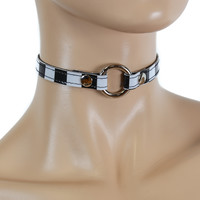 Black & White Stripe Checkered w/ Silver O-Ring Choker Fetish Collar Beetlejuice