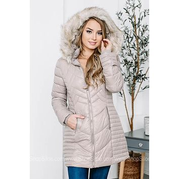 Taupe Fur-Lined Quilted Coat