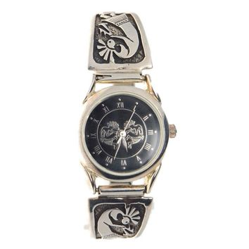 Kokopelli Watch Sterling Silver Tips, Vintage, 1930s to 1980s