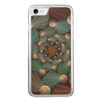 Modern Fractal Art with Depth Pattern Carved iPhone 7 Case