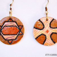 Pyrographed Wood Earrings - Big Round earrings with diferent abstract pattern on each side-Choose your pair