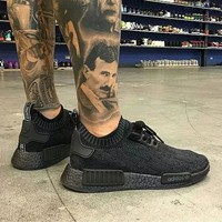 Best Online Sale Adidas NMD R1 Primeknit Pitch Black S80489 Boost Sport Running Shoes Classic Casual Shoes Sneakers