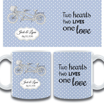 Personalized Wedding Mug Favors - Set of 10 Bicycle for Two Favors