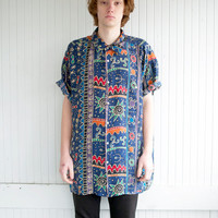 New Age Celestial Print Oversized Button Up Shirt