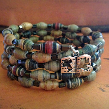 Paper bead bracelet, Silver bible charm, Fall fashion bracelet, Comfortable and lightweight