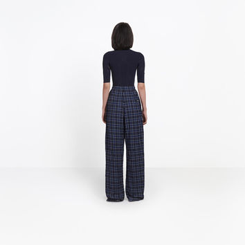 Women's Black/ Blue Oversize Leg Pants | Balenciaga