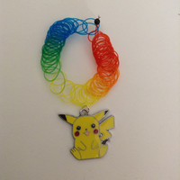 "90's rainbow or black henna tattoo choker or 20"" suede leather cord with Pokemon Pikachu pendant charm"