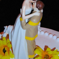 Fireman firefighter  fire department  Wedding Cake Topper kiss groom lift bride